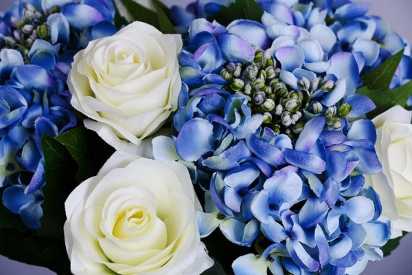 Artificial Blue Hydrangea silk flowers (4)