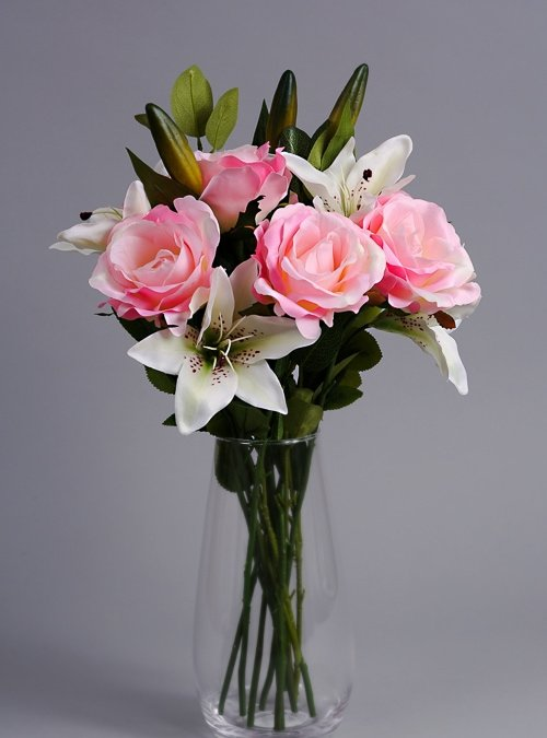 Artificial Pink Roses silk flowers