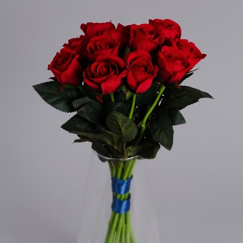 12 Red Roses artificial flowers