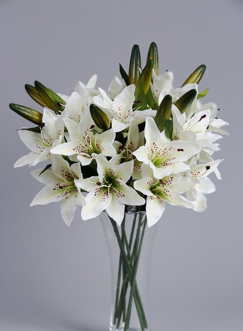 Artificial White Lilies silk flowers (3)_2