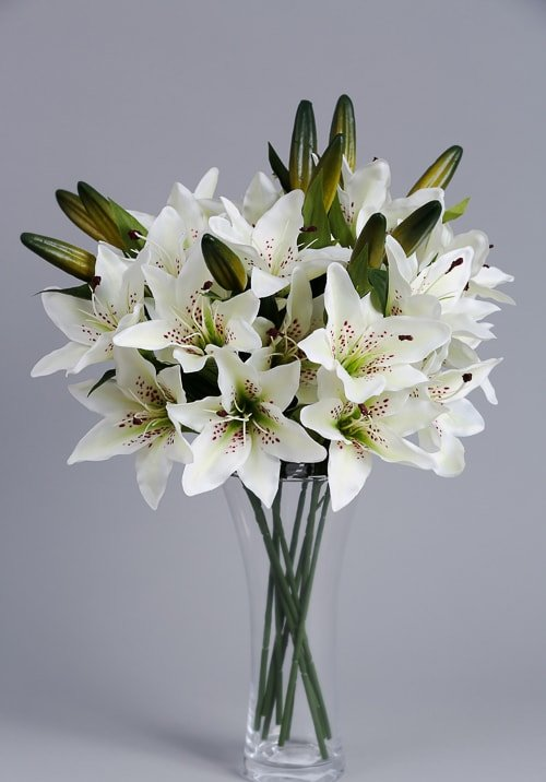 Artificial white lilies