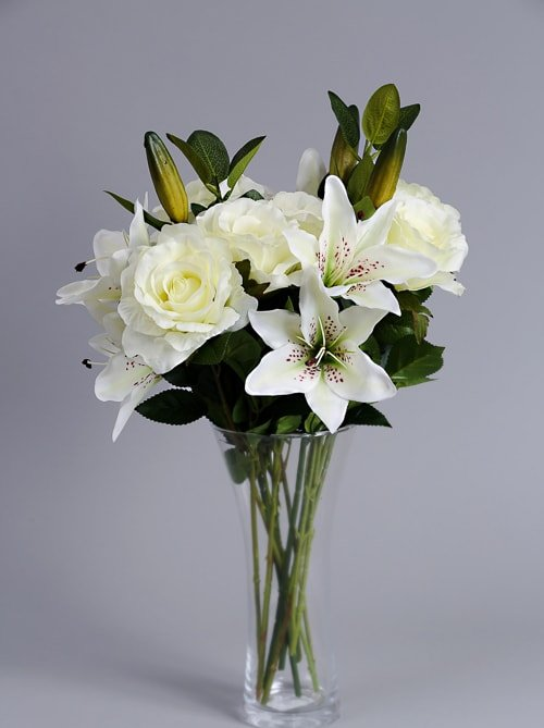 Artificial White Roses (3)_2 silk flowers