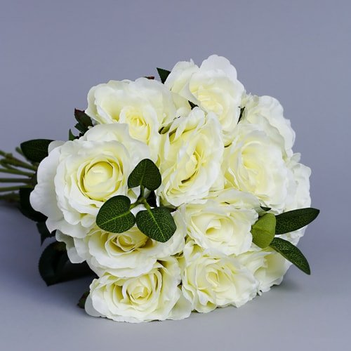 Artificial White Roses 7 2 silk flowers