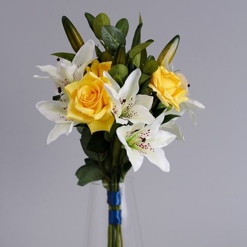 Yellow Artificial Roses silk flowers (4)_2