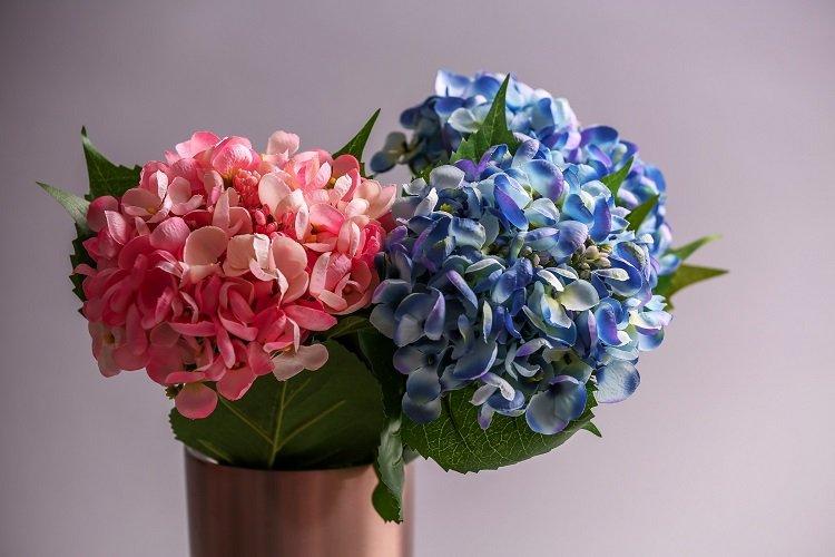 Artificial Hydrangeas Close Silk Flowers