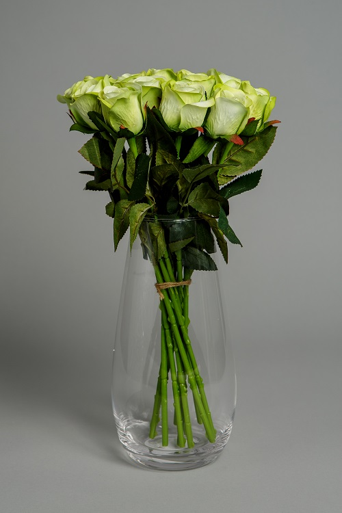Artificial Green Roses Silk Flowers 1