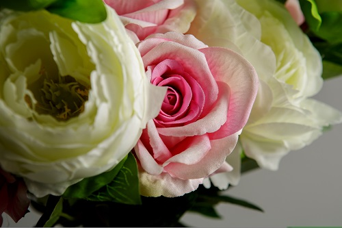 Artificial Pink Roses and White Peony Silk Flowers 3