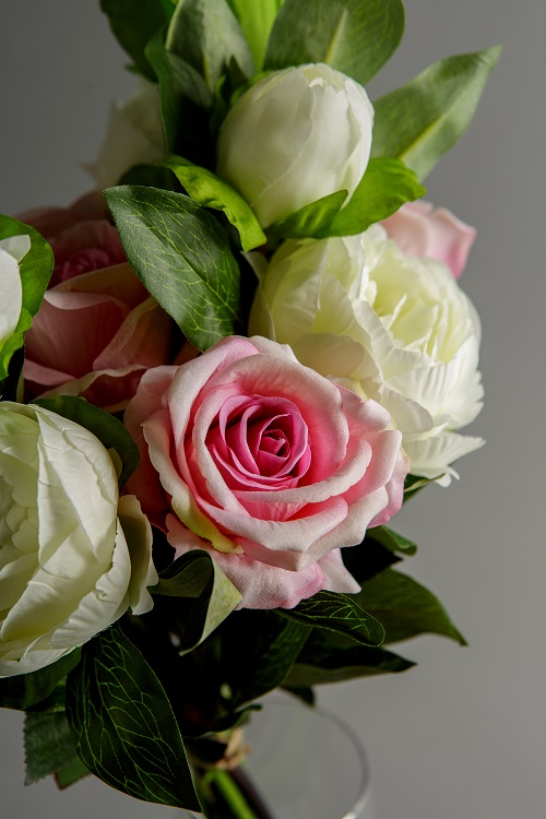Artificial Pink Roses and White Peony Silk Flowers 5