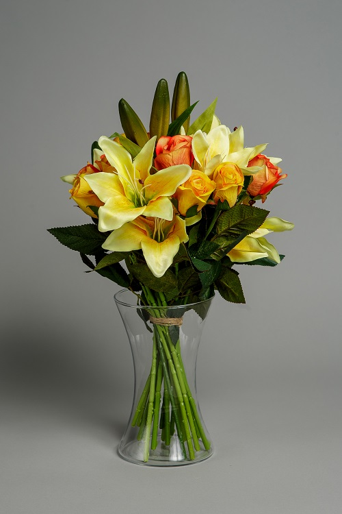 Artificial Sunset Lily Rose Silk Flower 2