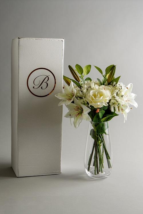 artificial white flower arrangement