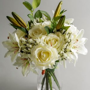 artificial white flower arrangement