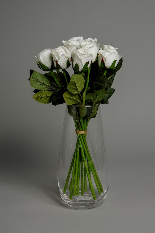 Artificial White Roses Silk Flowers 1