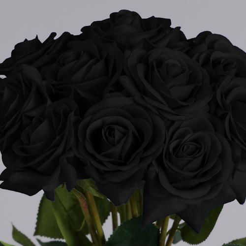 black artificial flowers