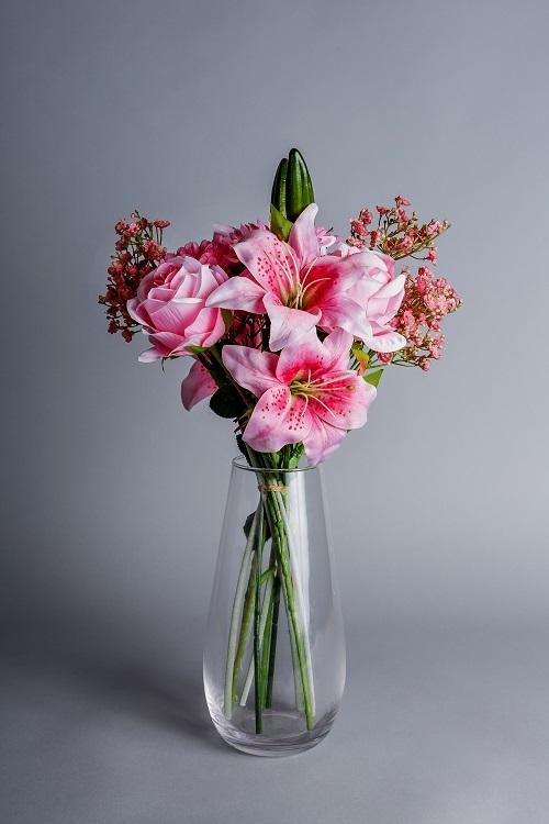 artificial pink lilies