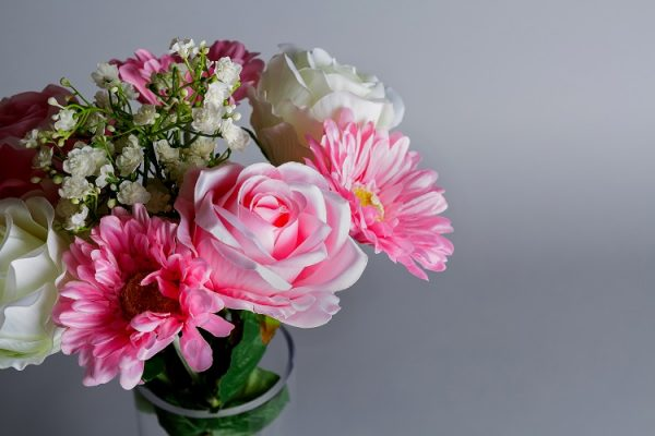 faux pink flowers