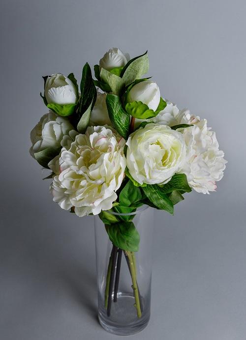 silk white peonies