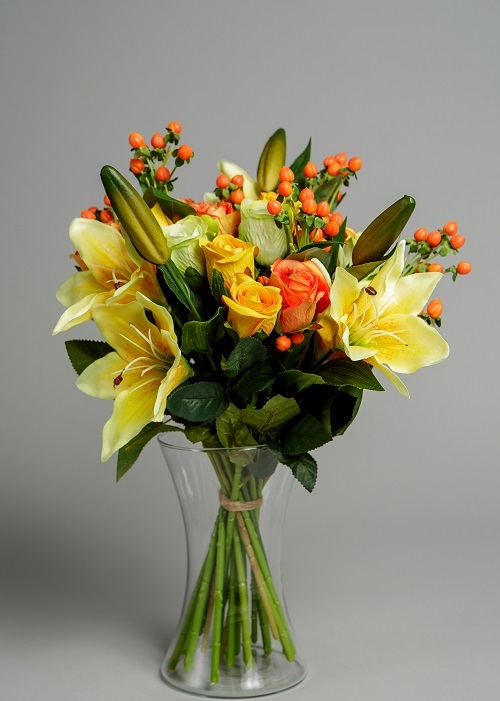 Artificial Lilies in Yellow
