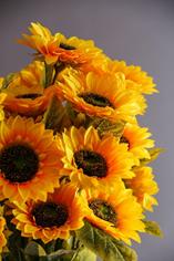 Artificial summer sunflowers.