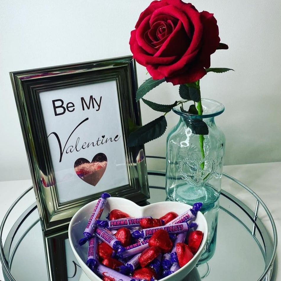 Artificial rose styled for Valentine's day.