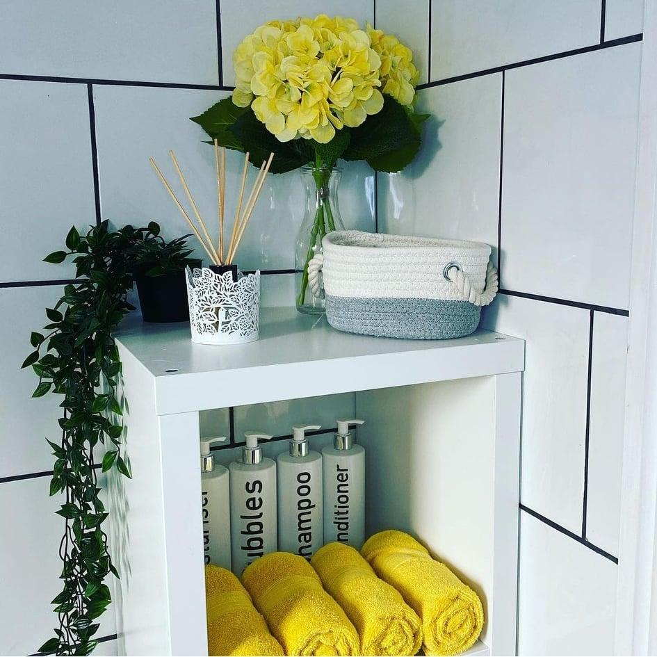 Artificial hydrangeas in a bathroom.