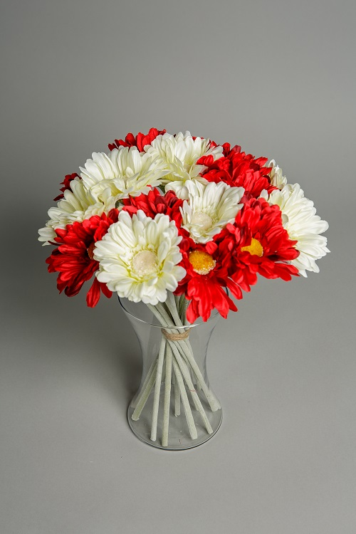 Red and white sympathy flowers