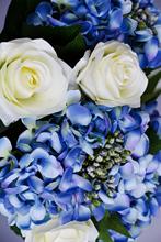 Bouquet of artificial blue hydrangeas
